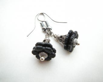 "Earrings ""Black Pearl flowers"""