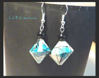 Geometric black and blue pearl earrings