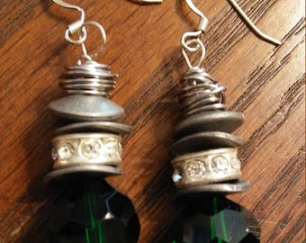 Green and Metal wire wrap earrings