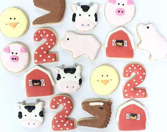 One dozen farm animal cookies