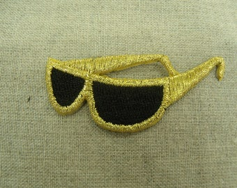 patch fusible-gold and black sunglasses with branch