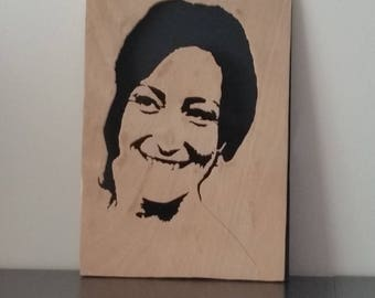 portrait on wood from photo