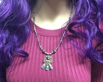 Silver and Brass Angel Necklace