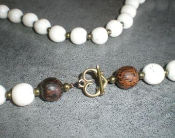 Asymmetrical white marble effect and wood beaded necklace