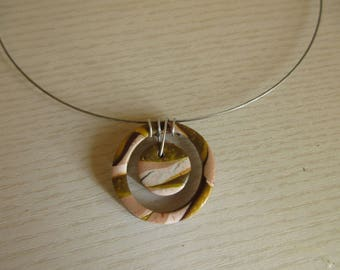 Necklace 2 circles of polymer clay