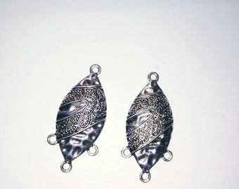 Ethnic charm silver shield shape