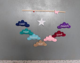 Weekly Mobile to decorate baby's room