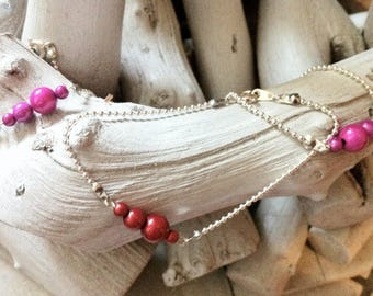 Magical red beads bracelet chenille
