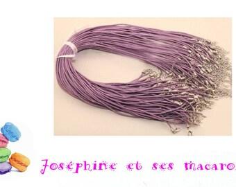 Purple 1 necklace 46 cm faux leather