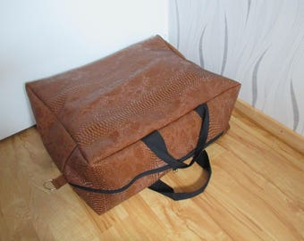 cabin aircraft faux crocodile brown leather bag