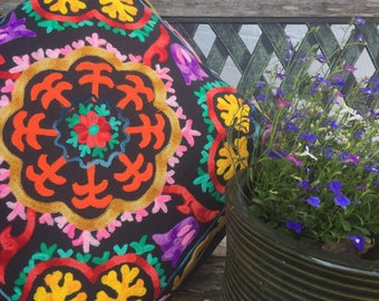 Colourful Indian boho embroidered cushion cover in black