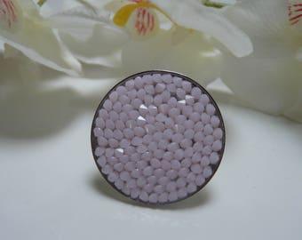 Ring Crystal rock Swarovski pastel pink 30 mm