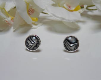 Earrings made with a 12mm Zebra style resin cabochon