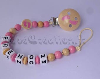 Pacifier clip personalized natures pink feet