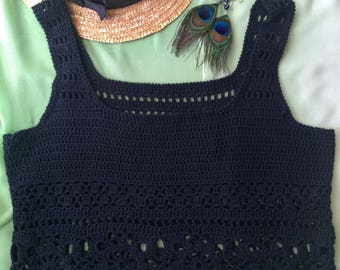 Black night crochet top