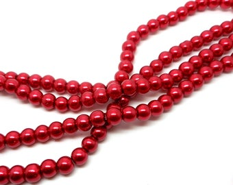 Set of 30 6mm red glass beads