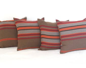 Cushion covers 50 * 50 wool fabric cinnamon Brown stripes
