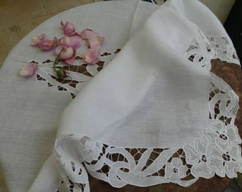 Antique French tea tablecloth with decorations of roses tablecloth art deco, days, small white square tablecloth, antique tablecloth tea tablecloth, tablecloth tea vintage