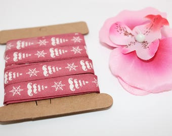 5 m of Ribbon pattern cotton tree of Christmas Moustache 15 mm - SC70628 jewelry - scrapbooking