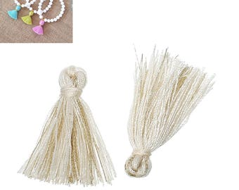 20 charms 25mm Polyester fringe tassels - peach - SC64853-