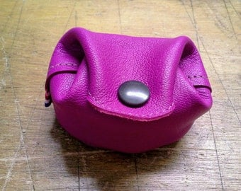 Real leather purse, color pink fuchsia