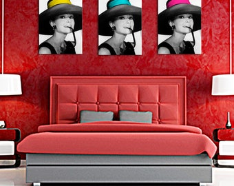 Triptych composed of black and white 1 splash of color headband Audrey hepburn 40 x 55