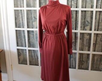 1970's Maroon Jersey Knit Dress