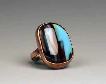 Handmade Copper Bezel Set Ring with Stained Glass Cabochon - Size 8.5