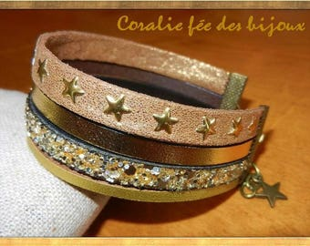 Golden leather Cuff Bracelet, starry suede leather pailletee.breloque star. Golden tones