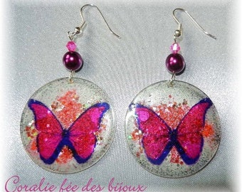 Butterfly resin glitter Crystal/Crystal/glass beads earrings