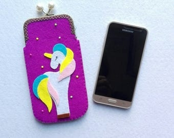 Purple felt cell phone case with unicorn cell phone case in purple felt with unicorn