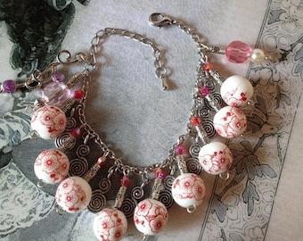 Porcelain silver pendants retro bracelet
