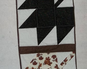 Handmade, quilted  Table Runner Fall decor of greens and browns.