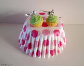 Apple cupcake earrings