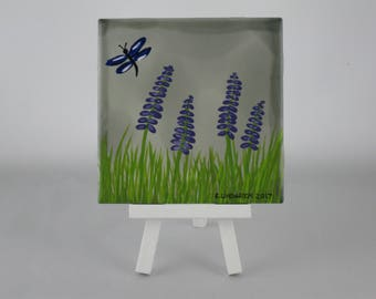 Hand painted ceramic tile with hyacinths and dragonfly