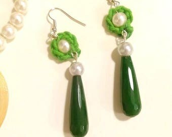Green Jade drop earrings/earrings