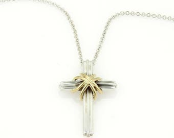 18k gold cross etsy sterling 18k gold cross pendant necklace aloadofball Images