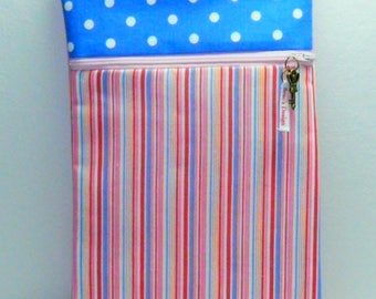 Pocket Book with red, blue and pink stripes