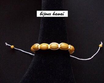 Bracelet, Shambala, yellow & white cotton thread