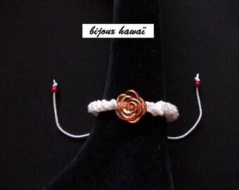 Bracelet Shambala red & white cotton thread