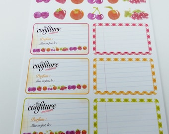 5 sheets of labels for jar with fruit decals