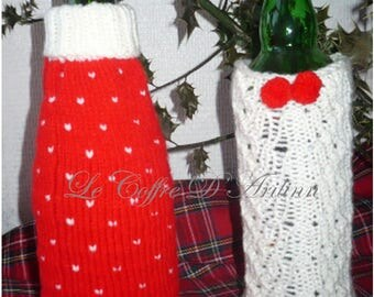 Red and White Christmas table decoration, set of 2