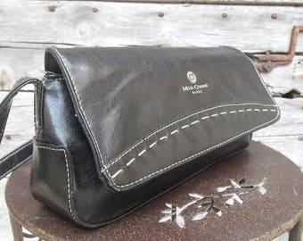 Black faux leather handbag brand Mike Gwend