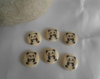 set of 6 wooden buttons round panda pattern