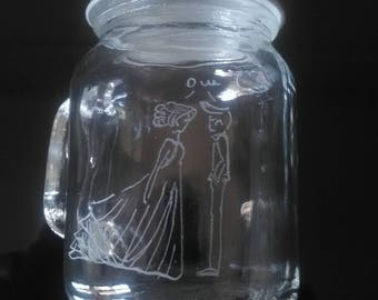 Mini Mason Jar of 8.5 cm for favors - customization available - engraving couple married