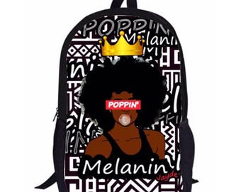 Melanin Poppin' Black Girl Magic Backpack Customized with Name