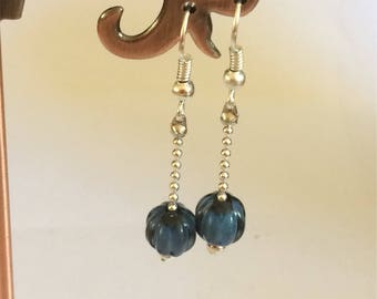 Silver Dangle Drop Chain Earrings With Teal Glass Beads Handmade