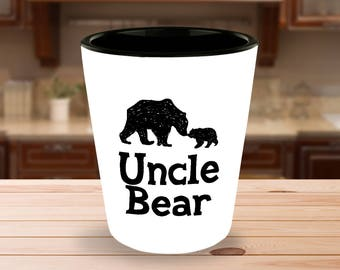 Uncle Bear Shot Glass - Gift from Niece Nephew - 1.5 oz Ceramic Shotglass