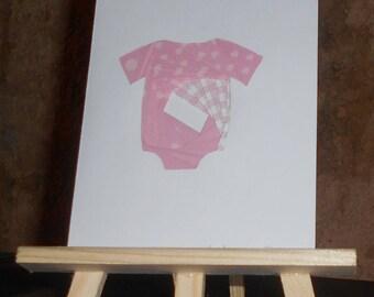 Birth card - baby pink iris folding