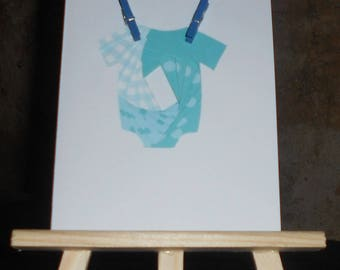 """Card """"Congratulations"""" laundry and baby blue in iris folding clips"""
